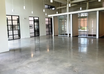 Polished concrete floor with acid-based stain.