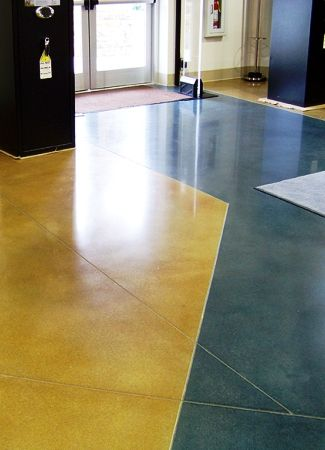 Stained concrete floors using acid-based stains and water-based stain.